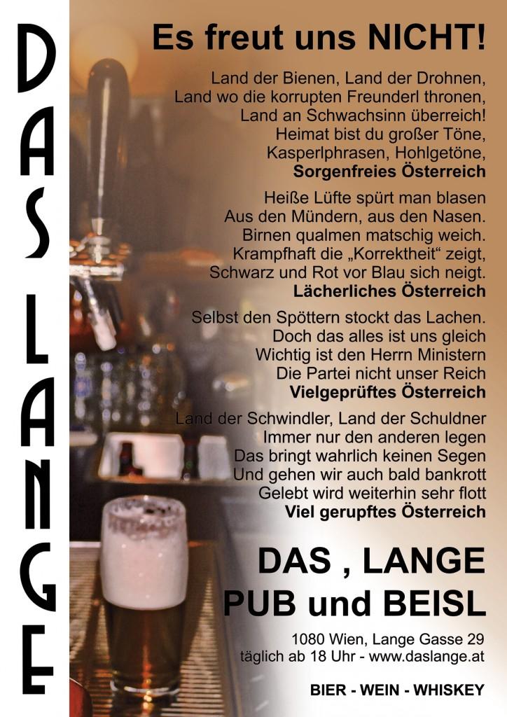 Das LANGE - Pub und Beisl - Plakat 2011