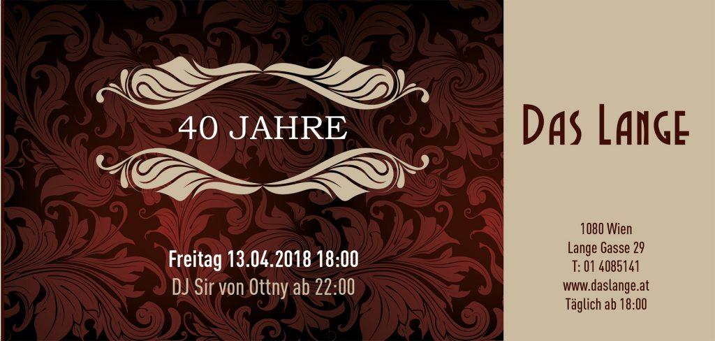LANGE Pub und Beisl Wien - 40 Jahre